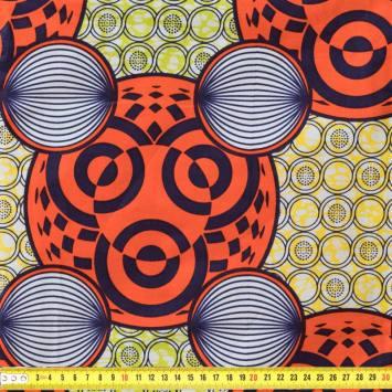 Wax - Tissu africain jaune et anis motif cercles orange