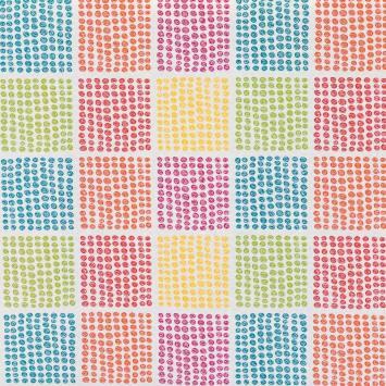 Tissu enduit écru imprimé cercles multicolores