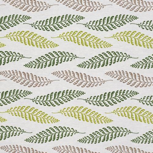 Tissu enduit écru imprimé feuille verte et taupe