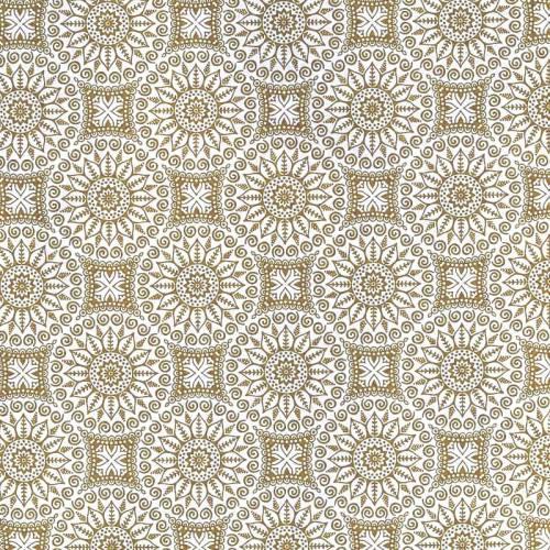 Toile polycoton imprimée mandala beige grande largeur