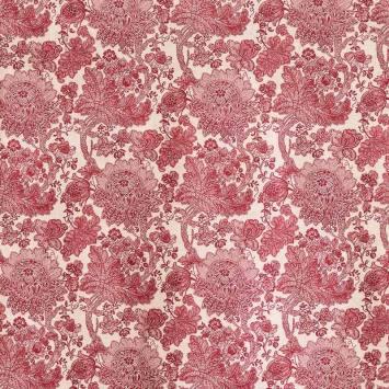 Toile polycoton imprimée mandala fleuri framboise grande largeur
