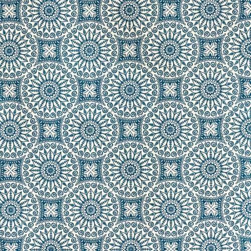 Toile polycoton imprimée mandala bleu pétrole grande largeur