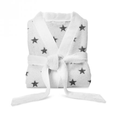 Tissu éponge blanc imprimé étoile grise