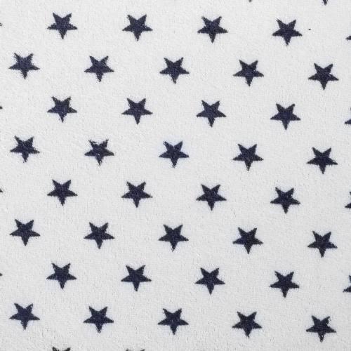 Tissu éponge blanc imprimé étoile bleu marine
