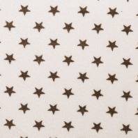 Tissu éponge écru imprimé étoile marron