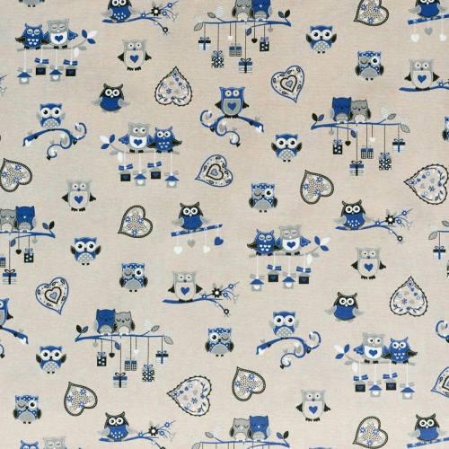 Toile polycoton imprimée hibou bleu et gris grande largeur