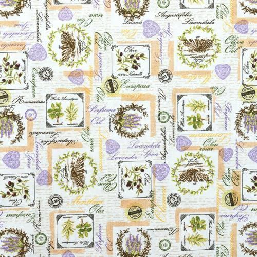 Toile polycoton imprimée herbes aromatiques grande largeur