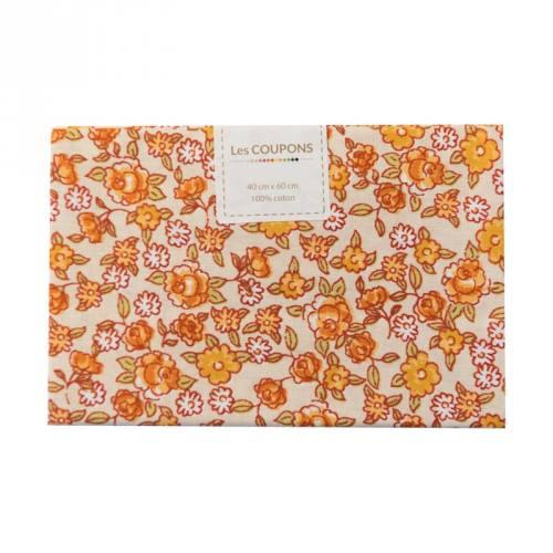 Coupon 40x60 cm coton fleurs sarina orange