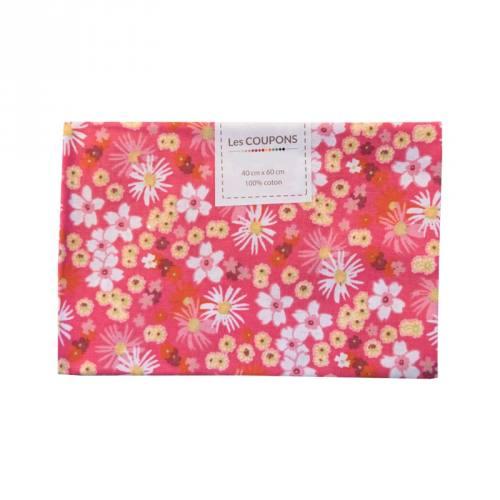 Coupon 40x60 cm coton fleurs zinia roses et jaunes