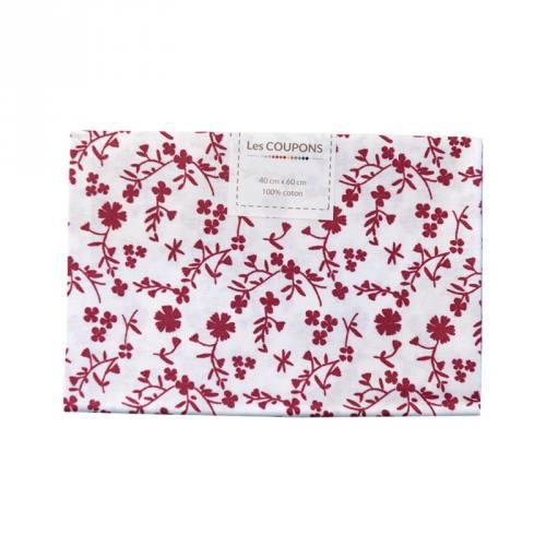 Coupon 40x60 cm coton fleurs margneg bordeaux
