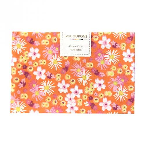 Coupon 40x60 cm coton fleurs zinia orange