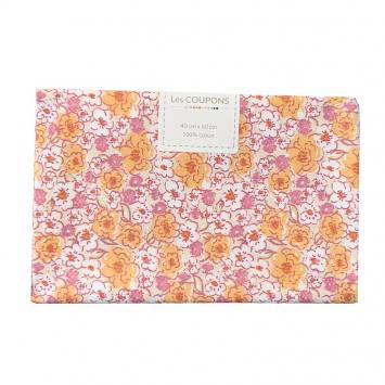 Coupon 40x60 cm coton fleurs kalmia orange