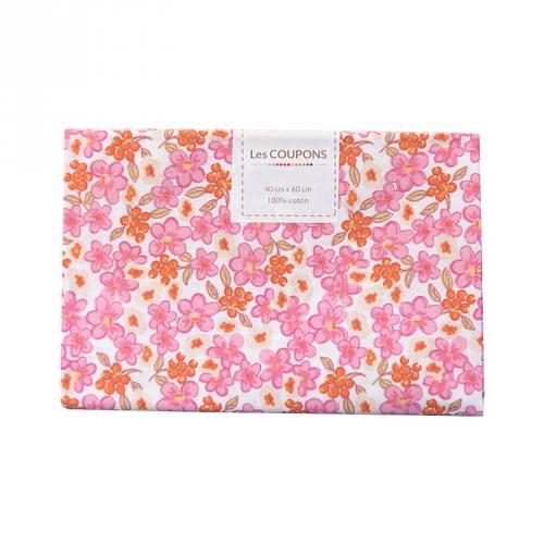 Coupon 40x60 cm coton fleurs lilas roses