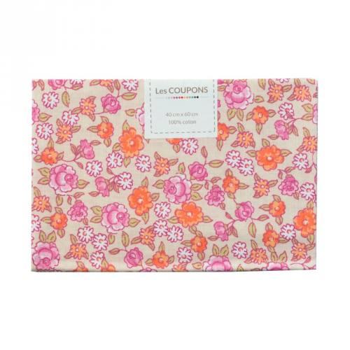 Coupon 40x60 cm coton fleurs sarina roses
