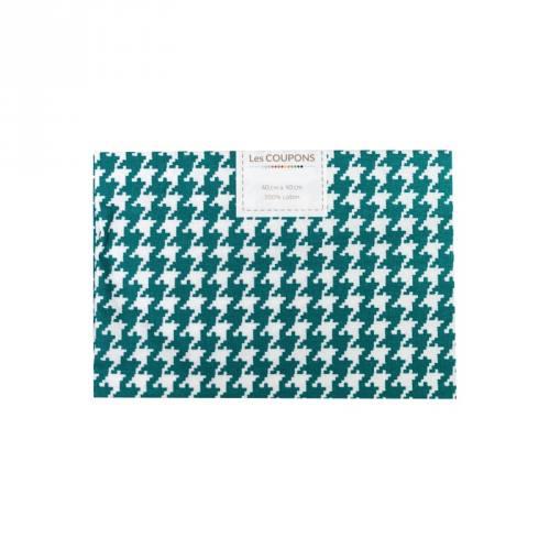 Coupon 40x60 cm coton bleu canard pied de poule