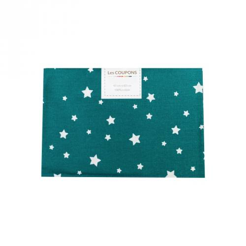 Coupon 40x60 cm coton bleu canard zetoile