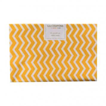 Coupon 40x60 cm coton jaune safran chevron