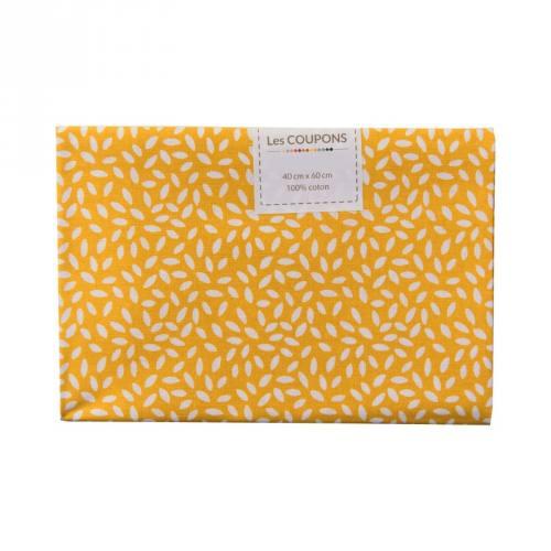 Coupon 40x60 cm coton jaune safran grains de riz