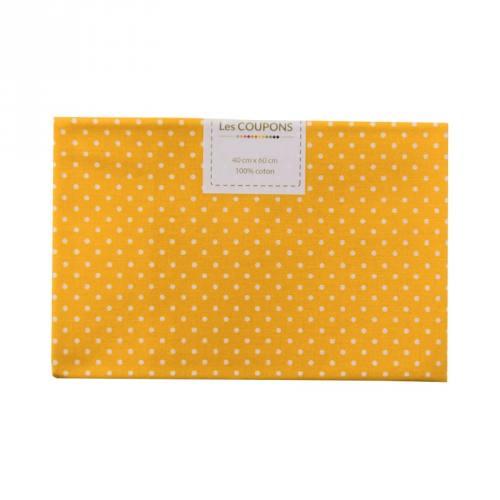 Coupon 40x60 cm coton jaune safran petits pois 2mm