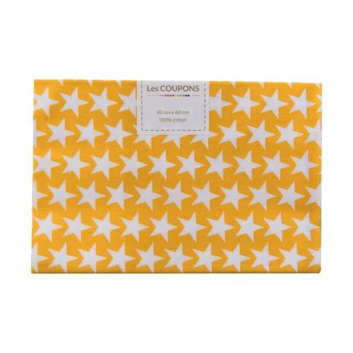 Coupon 40x60 cm coton jaune safran étoiles monroe