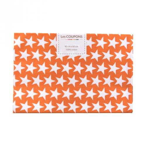 Coupon 40x60 cm coton orange étoiles monroe