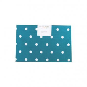 Coupon 40x60 cm coton bleu pétrole gros pois