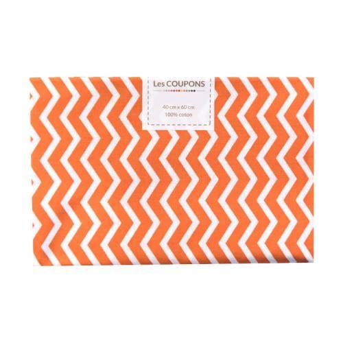 Coupon 40x60 cm coton orange chevron