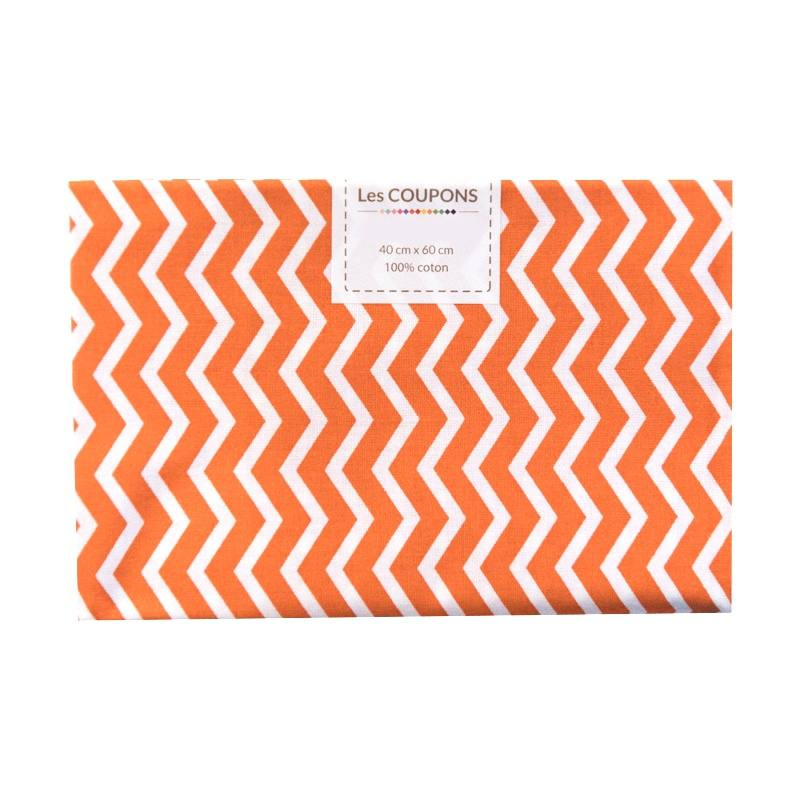 Coupon 40x60 cm coton orange chevron