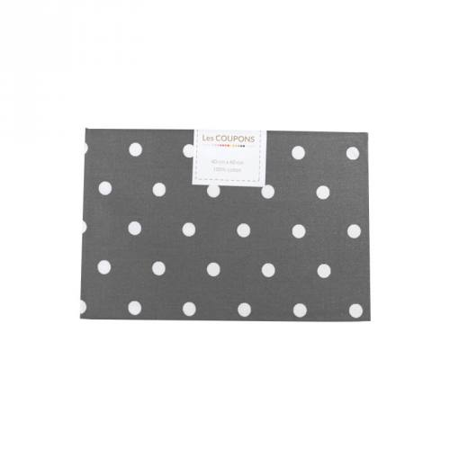 Coupon 40x60 cm coton gris souris gros pois
