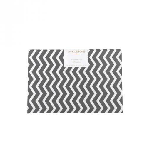 Coupon 40x60 cm coton gris souris chevron
