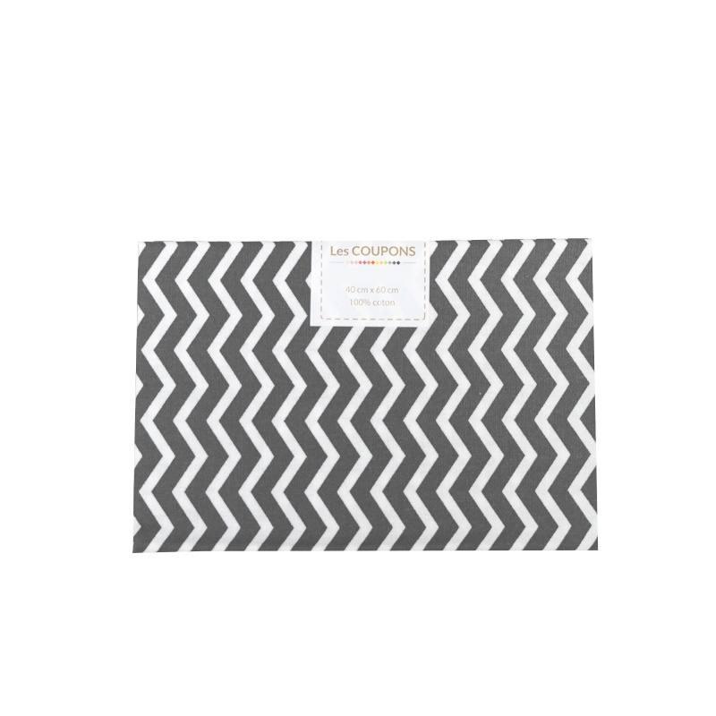 Coupon 40x60 cm coton gris souris chevron pas cher for Tissu impermeable exterieur pas cher