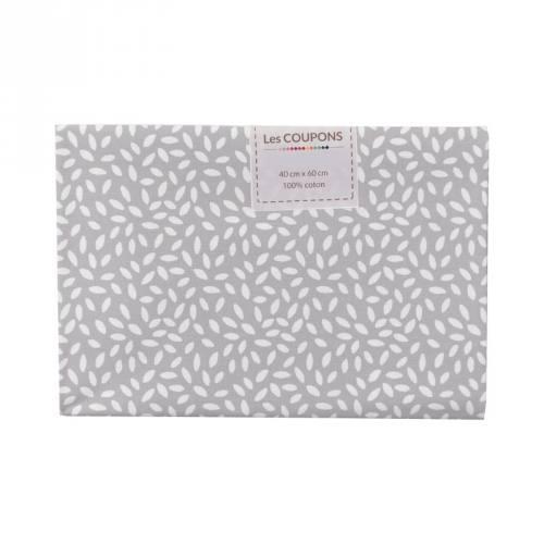 Coupon 40x60 cm coton gris clair grains de riz