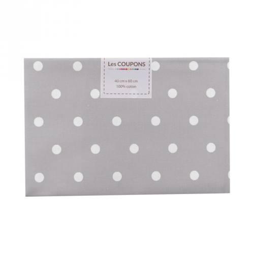 Coupon 40x60 cm coton gris clair gros pois