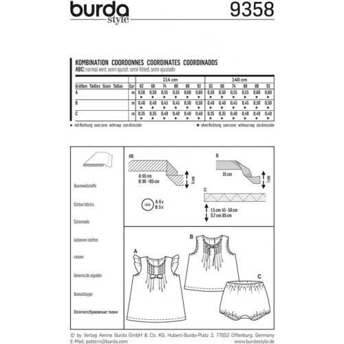 Patron Burda 9358 : Ensemble bébé Taille 62-92 cm