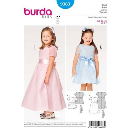 Patron Burda 9363 : Robe de cérémonie Taille : 92-122 cm