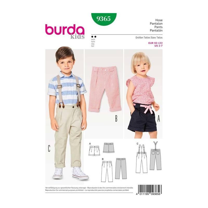 b8a55bfc12ab Patron Burda 9365   Pantalon Taille   92-122 cm pas cher - Tissus Price