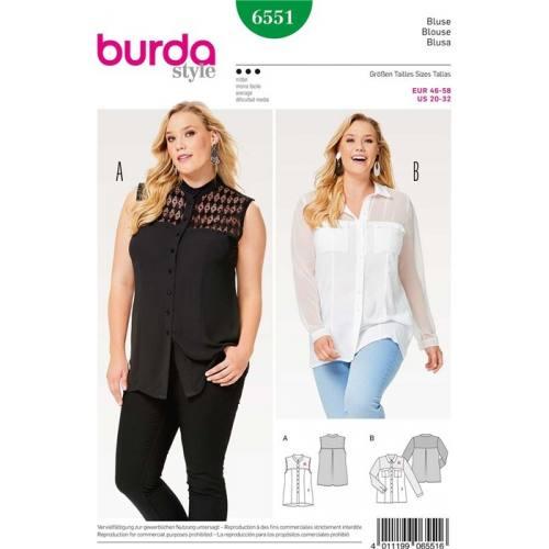 Patron Burda 6551 : Blouse Taille 46-58