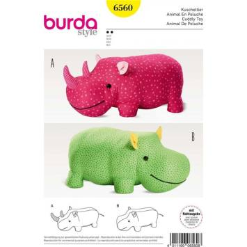 Patron Burda 6560 Animal en peluche 67 x 33 cm