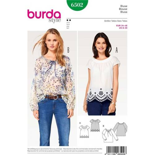 Patron Burda 6502 : Blouse Taille 34-46