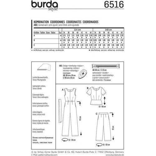 Patron Burda 6516 Combinaison Taille 34-46