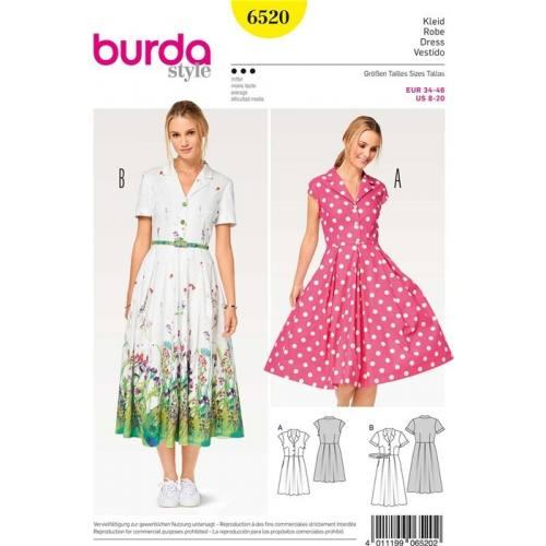 Patron Burda 6520 : Robe Taille 34-46