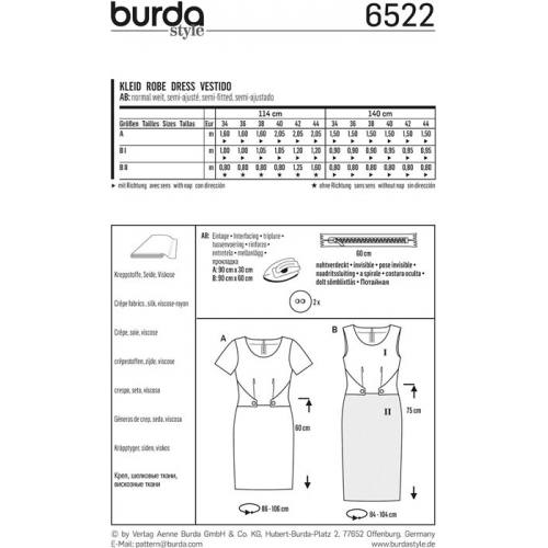Patron Burda 6522 Robe Taille 34-44