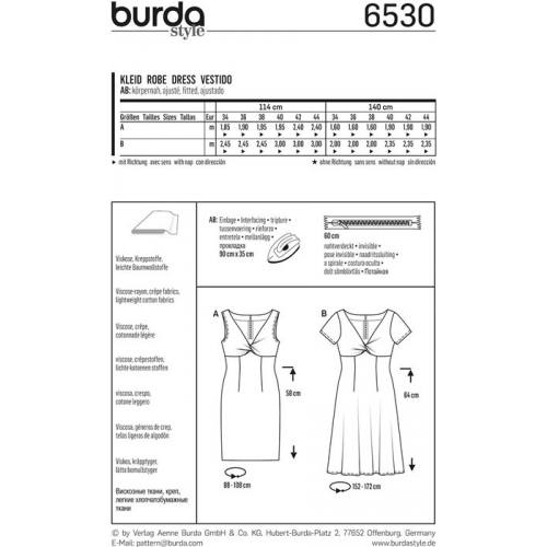 c893866cd30 Patron Burda 6530 Robe Taille 34-44 ...
