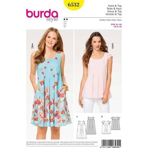 Patron Burda 6532 : Robe & Haut Taille 34-46