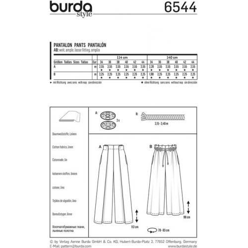 Patron Burda 6544 Pantalon Taille 34-44