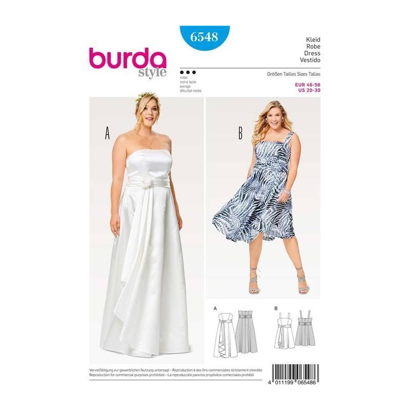 patron burda 6548 robe taille 46 56 pas cher tissus price. Black Bedroom Furniture Sets. Home Design Ideas