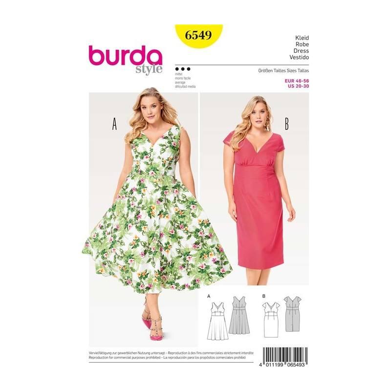 patron burda 6549 robe taille 46 56 pas cher tissus price. Black Bedroom Furniture Sets. Home Design Ideas