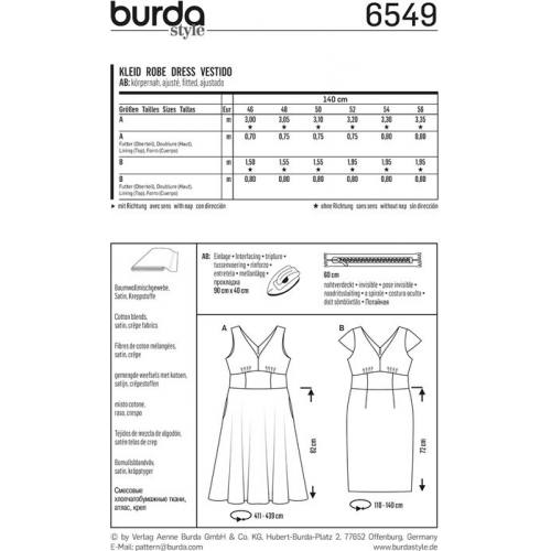Patron Burda 6549 Robe Taille 46-56