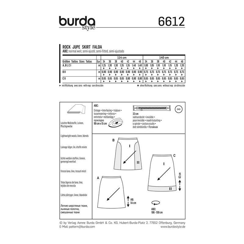 Patron Burda 6612 Jupe Taille 34-46