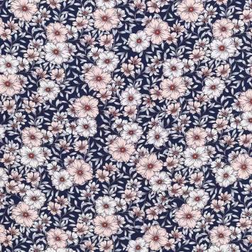 Tissu crêpe bleu marine imprimé fleurs blanches et roses